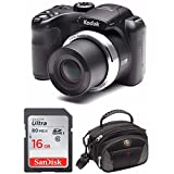 "Kodak PIXPRO AZ252 Point & Shoot Digital Camera with 3"" LCD (Black) and 16GB SD Card and Case"