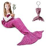 AmyHomie Mermaid Tail Blanket, Mermaid Blanket Adult Mermaid Tail Blanket, Crotchet Kids Mermaid Tail Blanket for Girls (Pink, Kids)