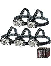 EverBrite 5-Pack LED Headlamp Flashlight for Running, Camping, Reading, Fishing, Hunting, Walking, Jogging - Head Lamps Long Battery Life (Batteries Included), Durable, Lightweight