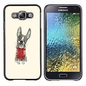 EJOOY---Cubierta de la caja de protección para la piel dura ** Samsung Galaxy E5 E500 ** --perrito lindo dibujo de bosquejo suéter