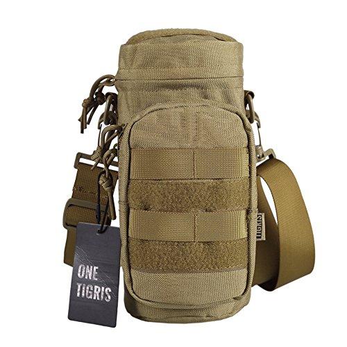 OneTigris SNIPER Bottle Pouch 1000D Nylon Tactical EDC Water Bottle Carrier with Detachable Shoulder Strap (Coyote Brown-Nylon)
