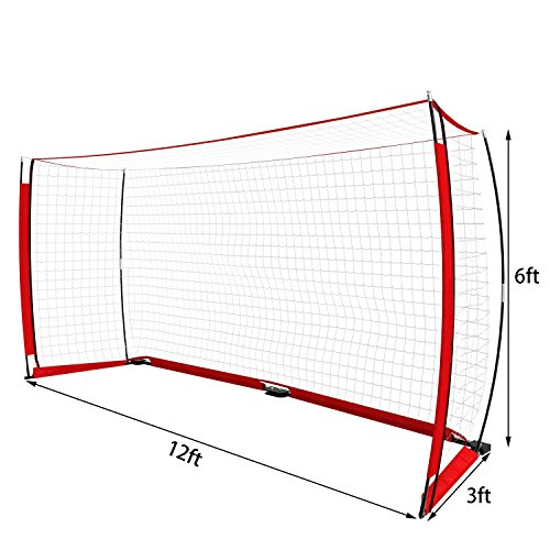 Hindom Sports Foldable Portable Soccer Goal Net with Bow Frame and Carry Bag(US STOCK) (12 x 6 ft)