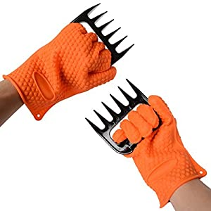 Xcellent Global BBQ Gloves with Meat Claws Shredder - Professional Heat Resistant Set for Outdoor BBQ and Grill, Cooking, Baking ect. M-HG074O
