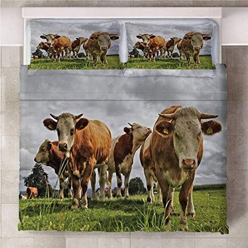 ARTEZXX Parure de Lit - Animal Vache des prairies 3 pièces Costume 3D Housse de Couette avec 2 Taies D'oreillers Chambre d'enfants Adultes Facile d'entretien - Super Roi