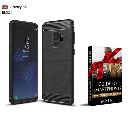 Samsung Galaxy S9 Lifeproof Case - Carbon Fiber Case - TPU Drop Shock Scratch Proof Camera Screen Protection Cut Out Design + Brushed Texture Flexible Rubber Black + Ideal Gift Idea