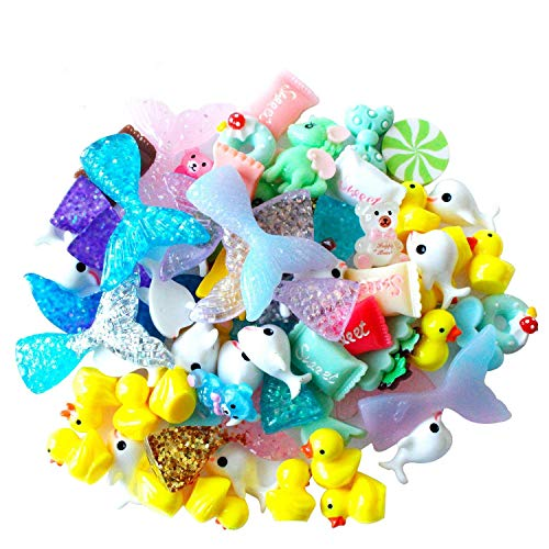 70 Pcs Slime Charms with Mermaid Tail Duck Mixed Candy Dolphin Resin Flatback of Slime Beads for Ornament Scrapbooking DIY Crafts -