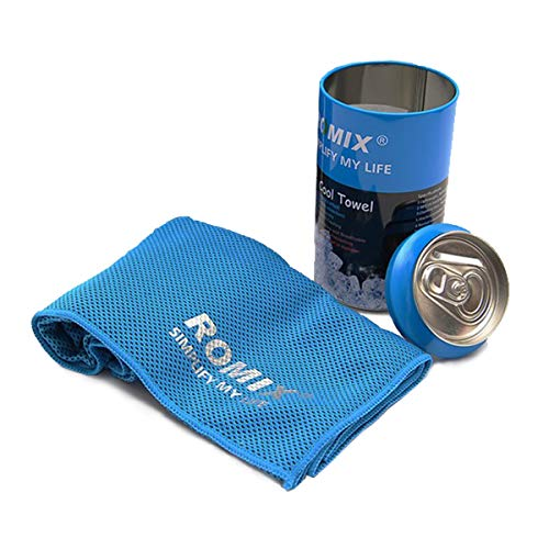 Sport Cooling Towel, 48'' x 12'' Extended Cool Cloth Scarf Instand Ice Cooling Towel for Workout, Fitness, Gym, Yoga, Pilates, Travel, Camping Outdoor Running & More by Romix
