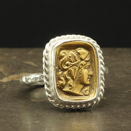 925 Solid Sterling Silver 24K Yellow Gold Vermeil Ancient Roman Byzantium Greek Art Handcrafted Artisan Hammered Coin Ring