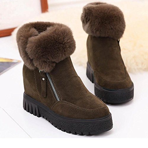 Botas Mujer,Ouneed ® Moda piel nieve Botas mantenga cálido gamuza zapatos marrón