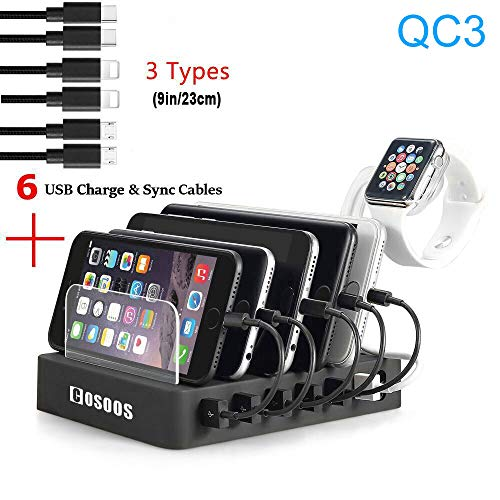 COSOOS Fastest Charging Station with QC3, 6 Phone Charger Cables(3 Types),lWatch Stand,6-Port USB Charger Station,Charging Station for Multiple Devices,Tablet,Kindle(UL Certified)