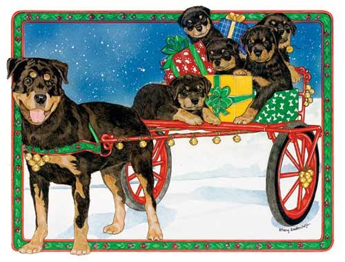 Rottweiler Christmas Cards Holiday Ride : 10 Holiday Card...