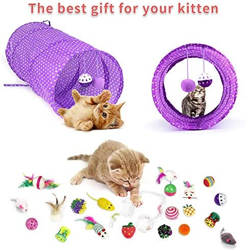 30 Piezas Set de Juguetes para Gatos Variedad Catnip Toy Set Kitten Toys Surtidos que incluyen Tunel Gato Pelota Gato Cat Teaser Mice Wand Feather Toys Cat Balls Jingle Bell Interactive Juguete gato Set para Gato 6
