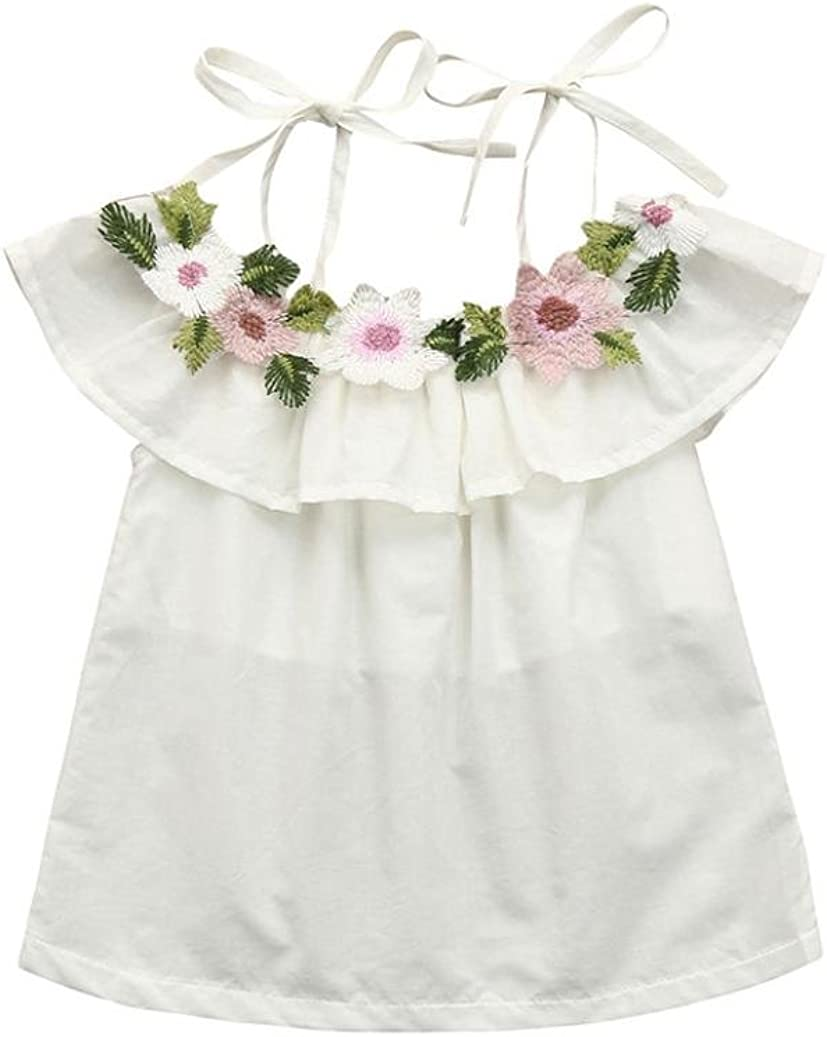 Forestime Baby Girls Sleeveless Floral Princess Straps Backless Clothes Princess Dress