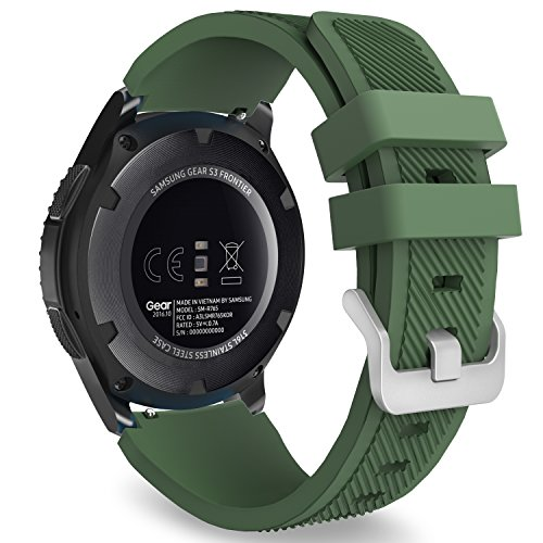MoKo Gear S3 Frontier/Classic Watch Band, Soft Silicone Replacement Sport Strap for Samsung Gear S3 Frontier / S3 Classic/Galaxy Watch 46mm / Moto 360 2nd Gen 46mm Smart Watch, Army Green