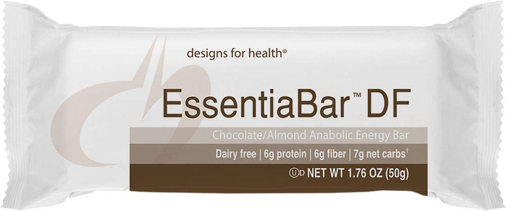 Designs for Health Rice Protein Bars in Chocolate/Almond - EssentiaBar, 6g of Dairy-Free Protein with No Artificial Sweeteners (18 Bars)