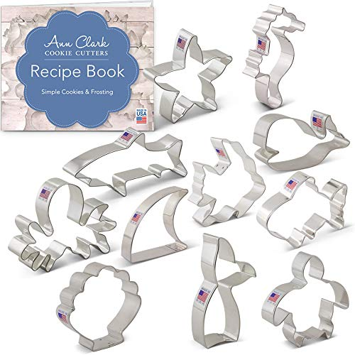 Under the Sea Cookie Cutter Set with Recipe Booklet - 11 piece - Shark, Whale, Fish, Mermaid Tail, Sea Turtle & More - Ann Clark - USA Made Steel -