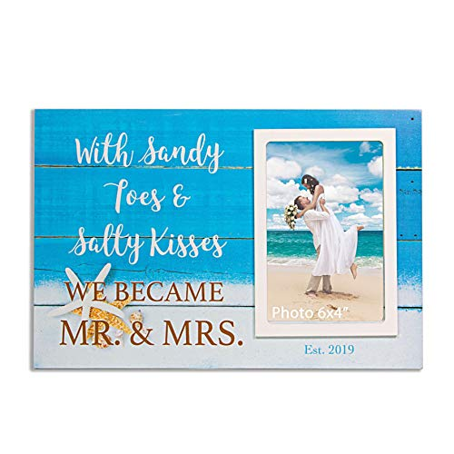 VILIGHT Beach Wedding Engagement Picture Frame Groom and Bride Gifts - with Sandy Toes & Salty Kisses We Became Mr & Mrs est 2019 Wood Plaque Sign for 4x6 Inches Photo