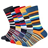Men's 5-pair Funky Striped Pattern Colorful Cotton Dress Crew Socks For Business Casual