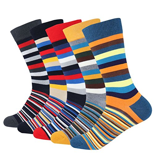 (Men's 5-pair Funky Striped Pattern Colorful Cotton Dress Crew Socks For Business Casual)