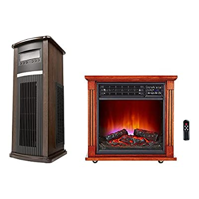 Haier Vertical Large Area Infrared Tower Heater + Fireplace Infrared Zone Heater