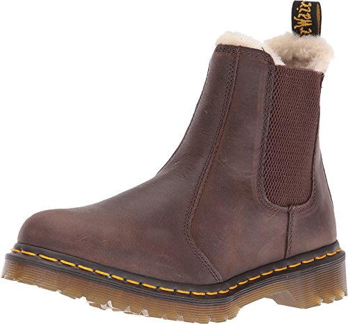 Dr. Martens Women's Leonore Burnished Wyoming Leather Fashion Boot, Dark Brown Grizzly, 9 Medium UK (11 US)