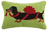Peking Handicraft Christmas Dachshund Hook in Bow Wool Lumbar Pillow, Multicolored