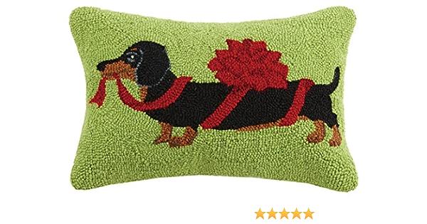 Peking Handicraft Christmas Dachshund Hook In Bow Wool Lumbar Pillow Multicolored Home Kitchen Amazon Com
