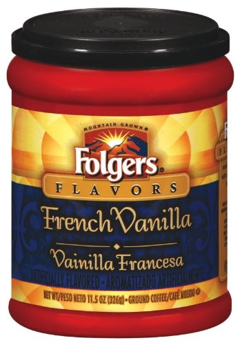 Folgers Coffee Ground Flavors, French Vanilla, 11.5-Ounce Canisters (Pack of 4)