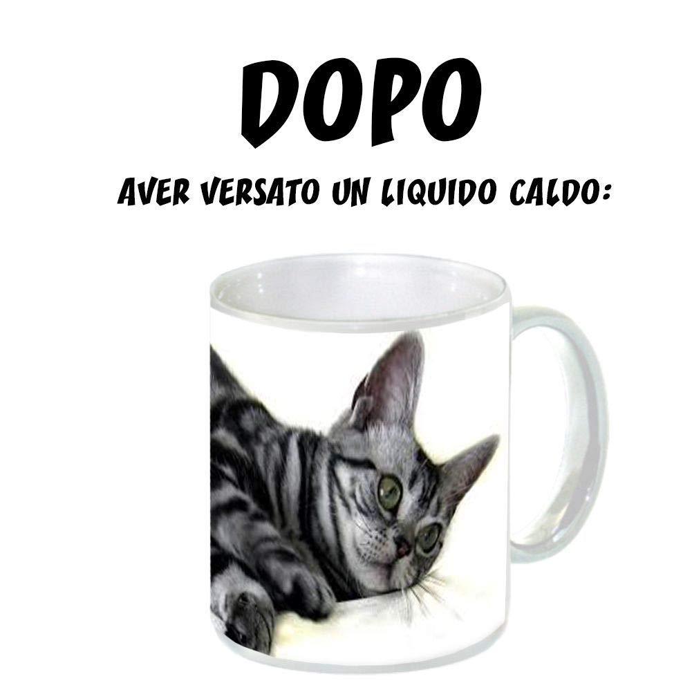 Singola Tazza Personalizzata Mug in Ceramica 1 Tazza Con Scatola Nera Lucida Magica Termosensibile