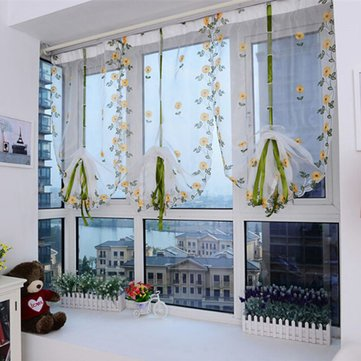 100X80Cm Flower Sheer Curtain Tulle Window Door Liftting Curtain Blinds^.