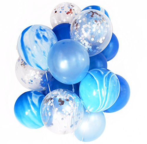 Blue and Silver Foil Party Decoration Marble Confetti Balloon (Thickened 12