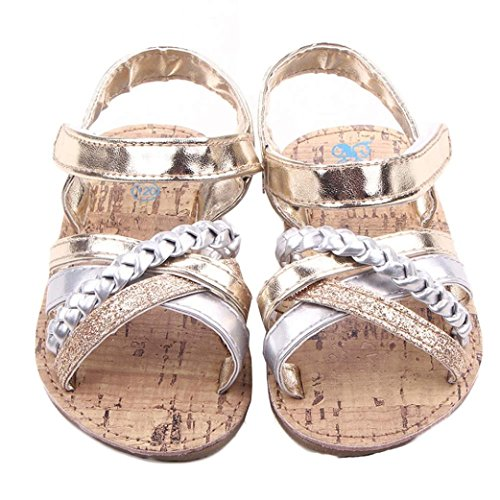 Voberry® Baby Infant Girls Summer Prewalker Bronze Anti-Slip Crib Flat Sandals (12~18 Month, Gold)