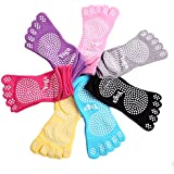 Kamay's Anti-slip Fitness Yoga Pilates Dance Barre Socks Full Toe Half Toe Toeless Socks Ankle Fall Prevention Grip Socks Thick Cotton More wear-resisting 5 toes 7 Colors 4 Styles Available Value Pack Set