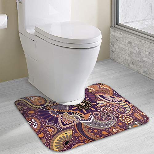 Anti-Skid Memory Foam Toilet Contour Mat Kitchen Rug Paisley Floral Indian Mandala Home Decor Shaggy Rugs Indoor & Outdoor Entryway Mat, Machine-Washable/Fast Drying Doormat