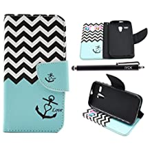Moto G Case (1st Gen), iYCK Premium PU Leather Flip Folio Carrying Magnetic Closure Protective Shell Wallet Case Cover for Moto G (1st Gen) with Kickstand Stand - Wavy Anchor