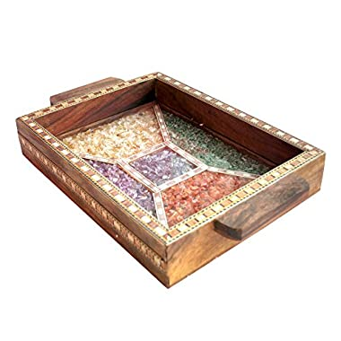 Serving Tray Made with Decorative Gem Stone with the Design of Crossed Strips, Gives the Elegant Look to Tray, Must for Home Kitchen and Dining Purpose