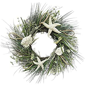 Coastal Home 22'' Starfish & Shell Wreath One Size White/Green 8