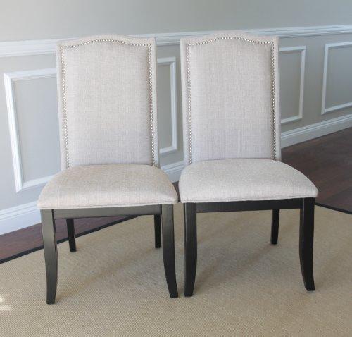 fabric dining chairs with nailheads. set of 2 upholstered beige fabric dining chairs with nailhead trim: amazon.co.uk: kitchen \u0026 home nailheads i