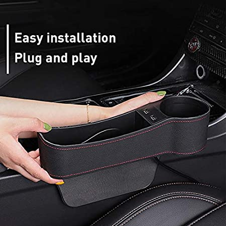 MOCOHANA Car Seat Gap Organizer Multifunctional with Dual USB Charging Cup Holder Leather Storage Box for Driver Side Black Right