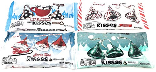 Hersheys Kisses Holiday Chocolate Assortment Candy Pack of 4 - Hot Cocoa, Mint Truffle, Santa Hat, Candy Cane Flavors