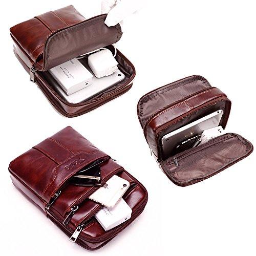 Sunmig Men's Vintage Genuine Leather Shoulder Bag Messenger Bags (brown-3803) by Sunmig (Image #6)