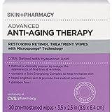 Skin + Pharmacy Advanced Anti Aging Therapy Retinol Wipes 20 ct