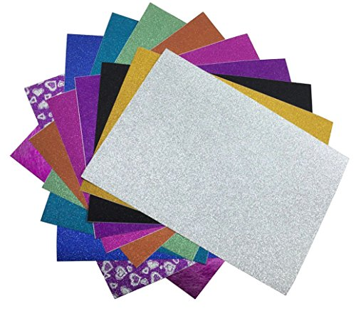 levylisa 10 Sheets A4 Mixed Colors Glitter Self-Adhesive Sticker Sticky back Paper Craft Art Sparkling Sign Gemstone Metallic Colour Diy Gift