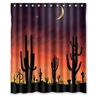 Amazon.com: Hot Sale Desert Cactus Sunset Design Custom 100% Polyester  Waterproof Shower Curtain 60 X 72: Clothing