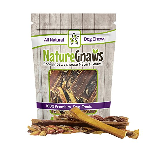 Nature Gnaws 100% Natural Beef Dog Chews - Large Variety Pack - (3) Jumbo Bully Sticks, (3) Braided Bullys, (3) Jerkys & (3) Springs (12 total pieces) - Oven-Baked Grass-Fed Free-Range Treats