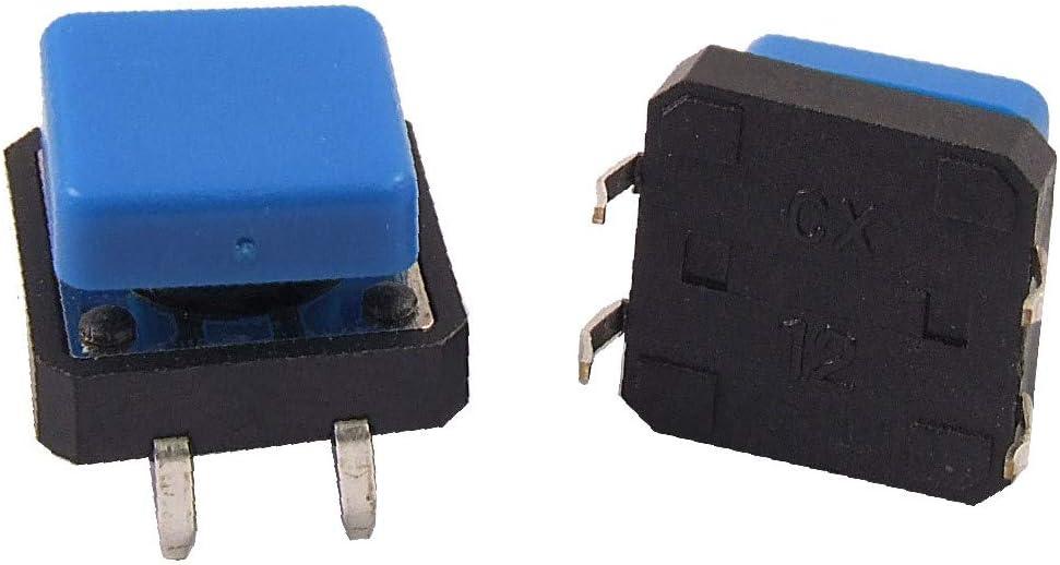 X-DREE 20pcs Momentary Tact Hochleistung Tactile Push Button Schalter wesentlich 12 x 12 gut gemacht x 12mm 4Pin DIP w Cap 8bf-45-62-738