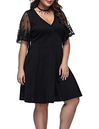 Lover Beauty Womens Plus Size Dress V Neck Evening Party Lace