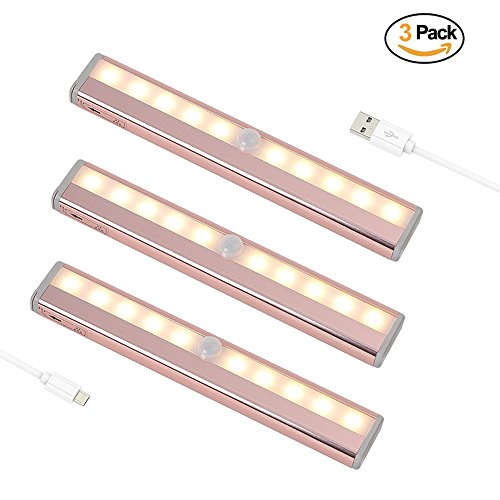 Motion Sensor Lights,USB Rechargeable 10 LED Wireless Cabinet Night Light Magnetic Removable Stick On Anywhere for Closet Wardrobe Drawer Cupboard - 3 Pack Warm White by LA-PIN