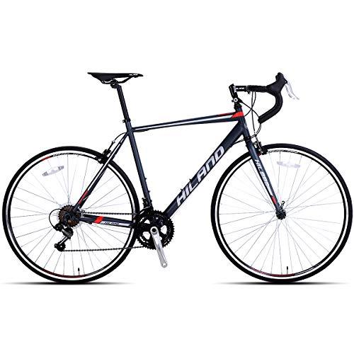 Hiland Men's Road Bike,Adult Alumilum 700C Road Racing Bicycle for Men,Urban Commuter Bike for Boys,Shimano 21 Speed Bike,Red