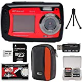 Polaroid iE090 Dual Screen Shock & Waterproof Digital Camera (Red) 16GB Card + Case + Tripod + Reader + Kit